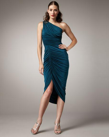 One-Shoulder Mid-Gathered Dress