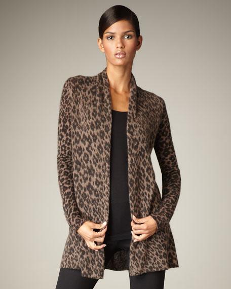 Cheetah-Print Cashmere Cardigan