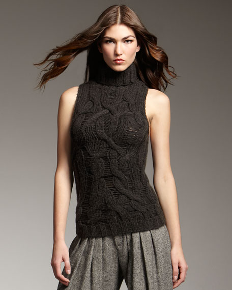 Sleeveless Cable-Knit Sweater