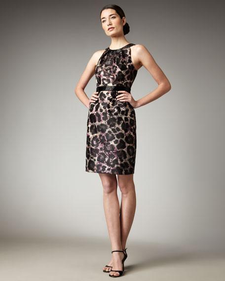 Animal-Print Sateen Sheath Dress