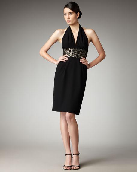 Paillette-Waist Halter Dress