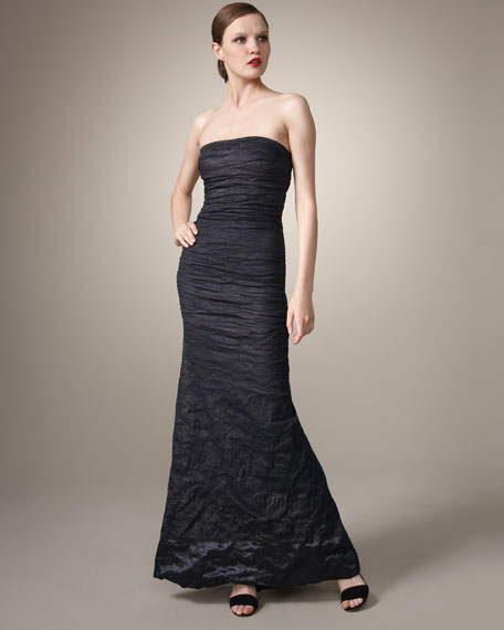Strapless Stretch Metal Gown