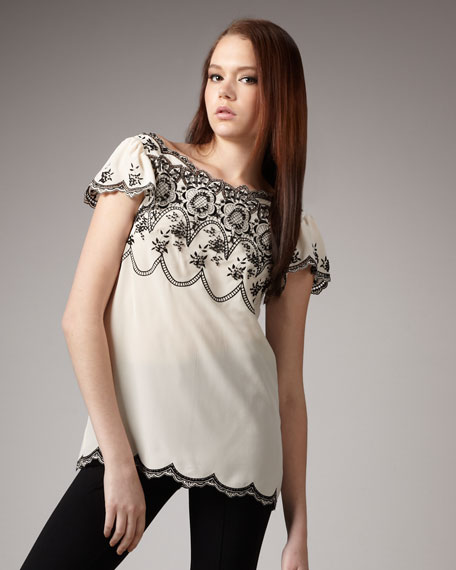 Madam Butterfly Embroidered Top