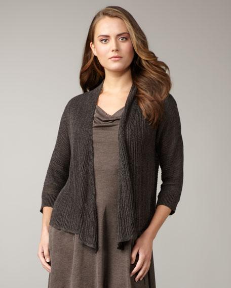 Linen-Silk Draped Cardigan