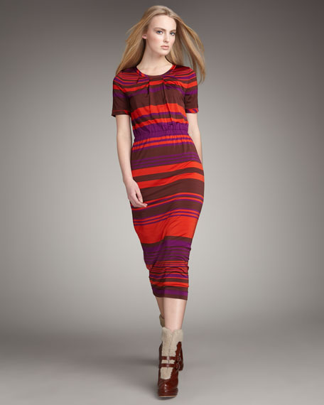 Striped Mid-Calf Jersey Dress