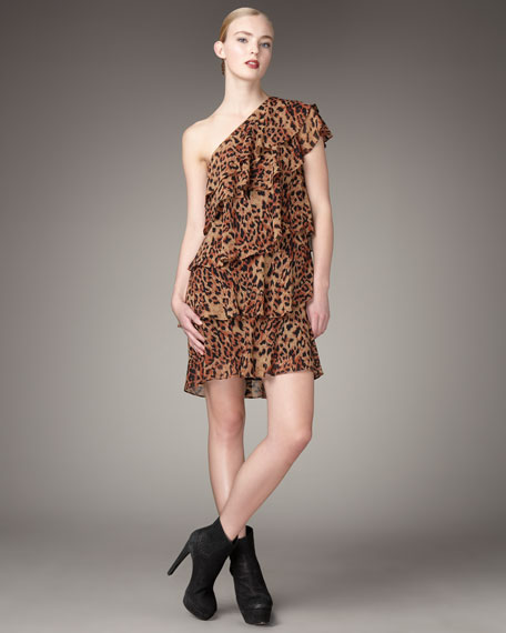 Ruffled Panther-Print Dress