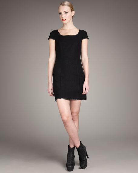 Leather-Trim Dress