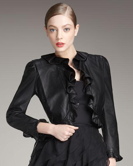 Ruffle-Trim Leather Jacket