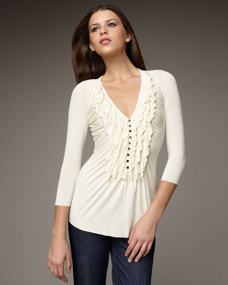Three-Quarter-Sleeve Ruffle Top