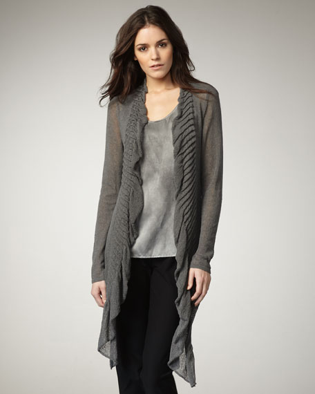 Long Ruffled Cardigan
