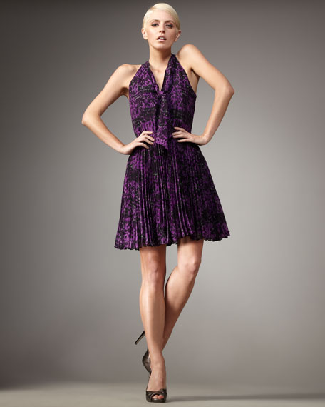 Pleated Feather-Print Dress