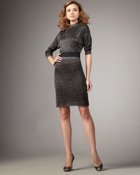 Metallic Belted Dress