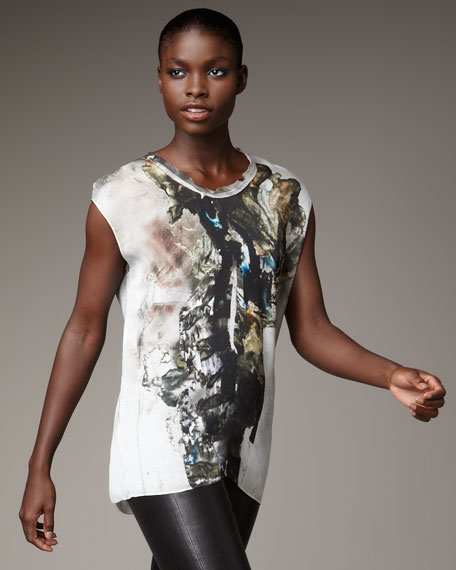 Carrion Printed Silk Top