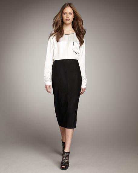 Mid-Calf Pencil Skirt