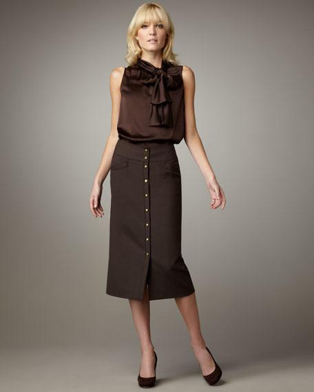 Snap-Front Mid-Calf Skirt
