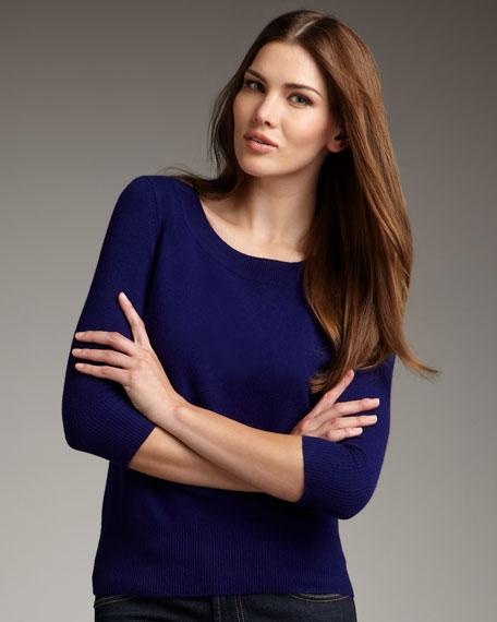 Cashmere Quarter-Sleeve Sweater, Women's