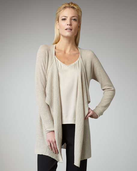 Washable-Wool Ribbed Cascade Cardigan