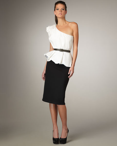 Belted One-Shoulder Peplum Dress
