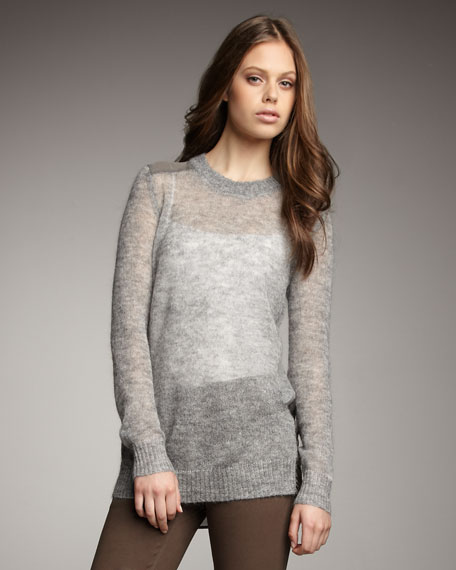 Sheer Knit Pullover, Silver Heather Moss