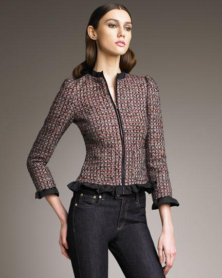 Ruffle-Trim Boucle Jacket