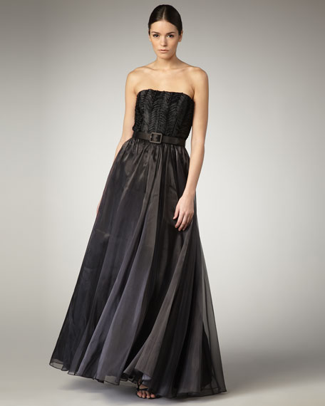Shirred Belted Ball Gown, Black