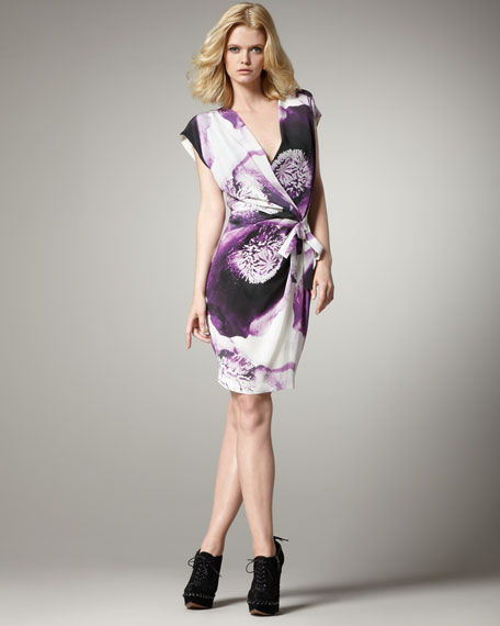 Clematis-Print Faux-Wrap Dress