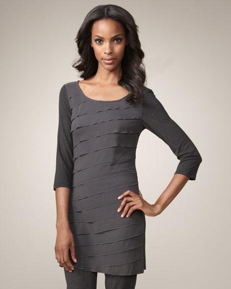 Ruffle-Front Jersey Dress, Granite