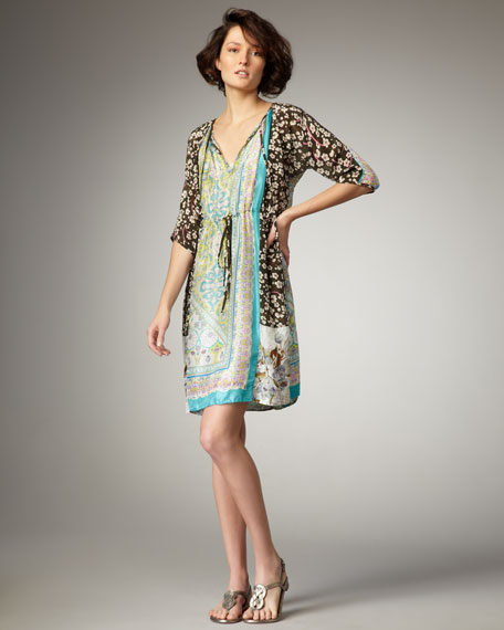 Le Claire Printed Silk Dress