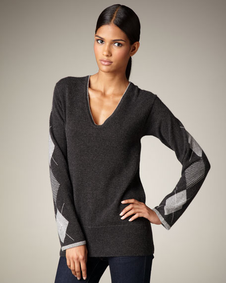 Argyle-Sleeve V-Neck Sweater