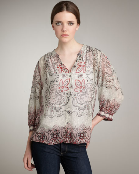 Gareth Printed Silk Blouse