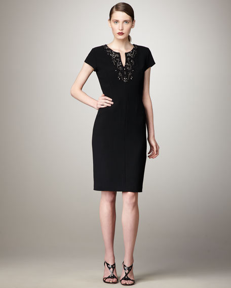 Beaded Cap-Sleeve Dress