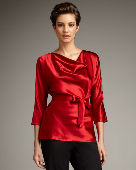 Belted Cowl-Neck Satin Top