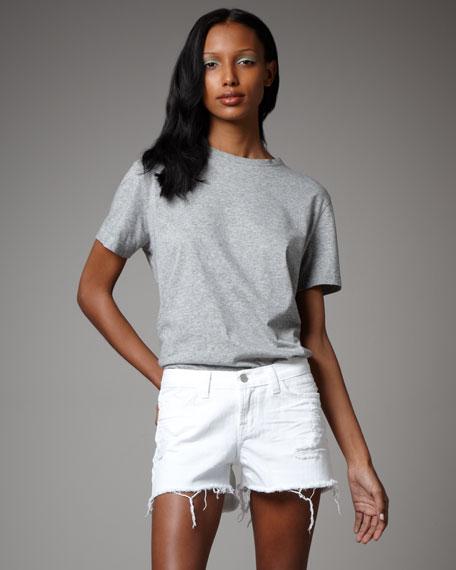 Cut-Off Vixen White Shorts