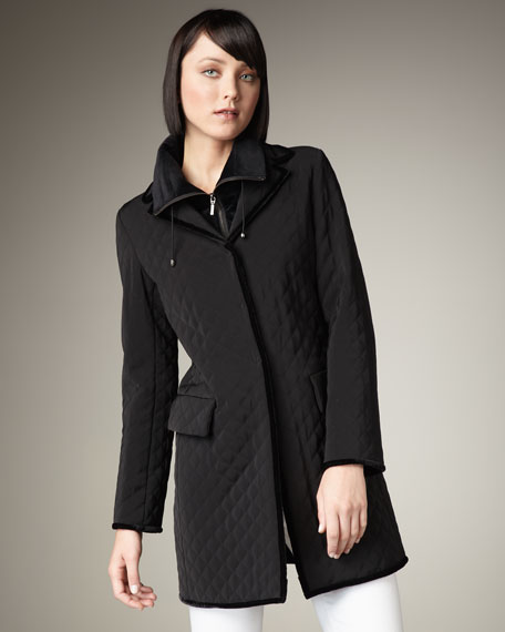 Velvet-Trim Quilted Coat
