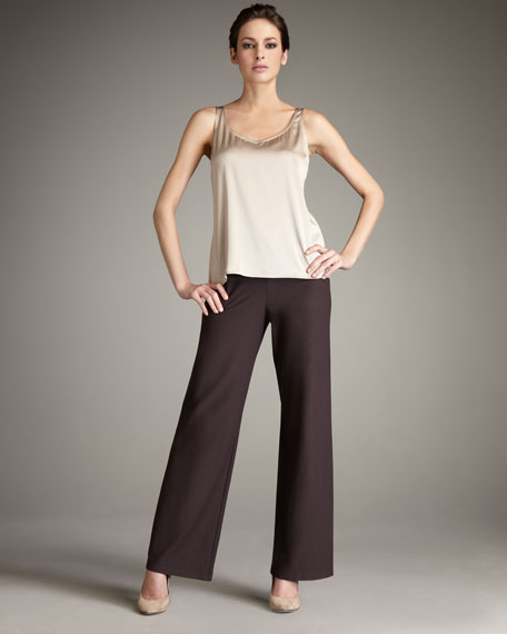 Washable-Crepe Wide-Leg Pants, Mussel