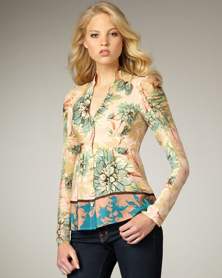 Radiant Floral-Print Silk Top