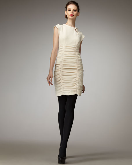 Ruched Tie-Neck Dress