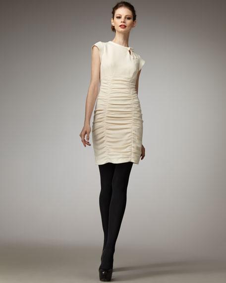 Ruched Tie-Neck Dress