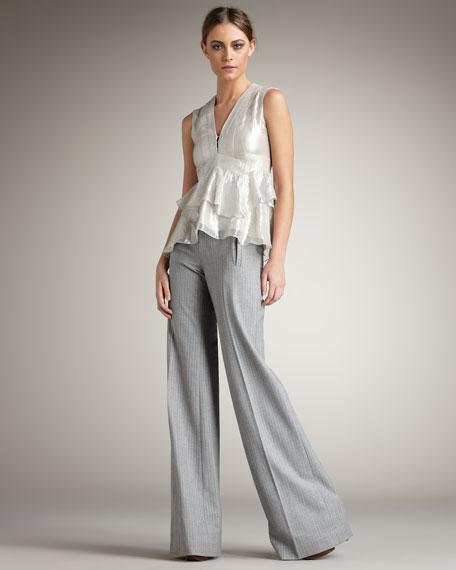 Pisces Pinstripe Wide-Leg Suit Pants