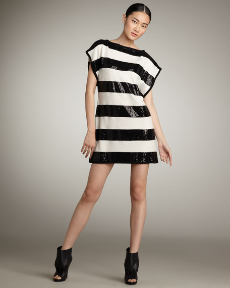 Aeron Sequined Striped Dress