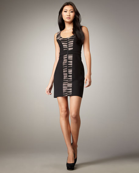 Striped-Inset Front-Zip Dress