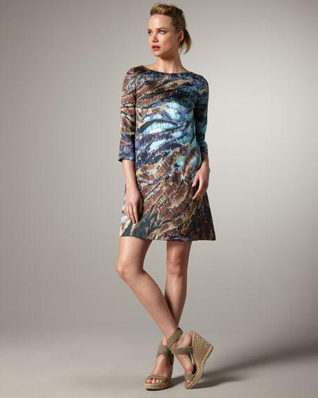 High-Neck Printed Shift Dress