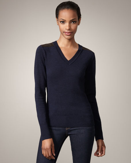 Suede-Patch Sweater