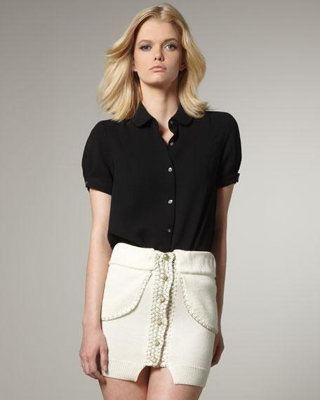 Button-Front Knit Miniskirt