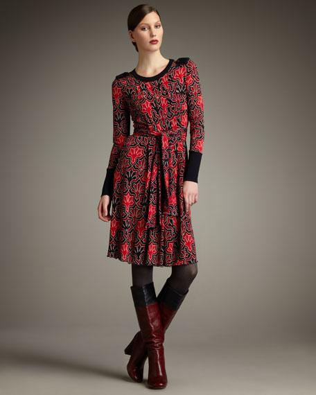 Melora Printed Tie-Waist Dress