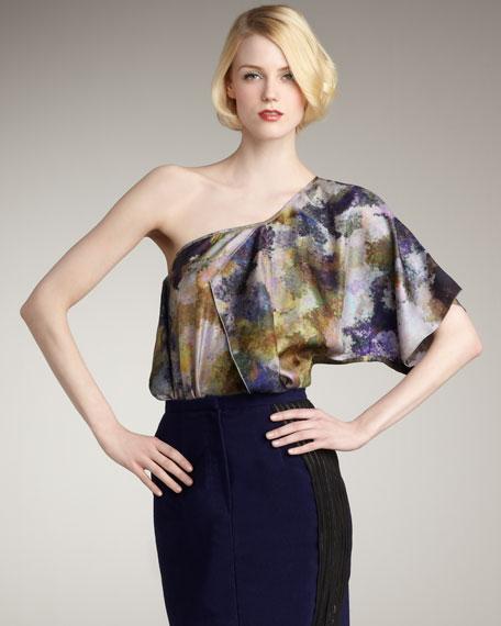 Audrey Printed Silk Top
