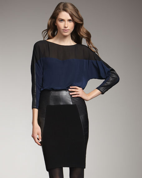 Margot Leather-Accent Pencil Skirt