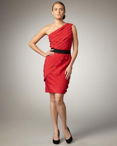 One-Shoulder Shutter-Pleat Dress