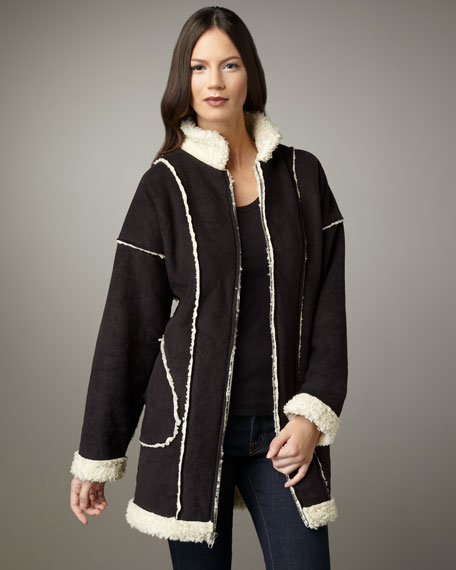 Lennox Long Faux-Shearling Reversible Coat
