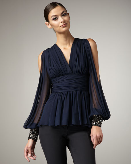 Batwing Beaded-Cuff Top